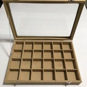 Jewelry Glass Burlap Display Grid Jewelry Tray